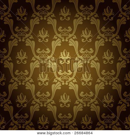 seamless Vintage Wallpaper Hintergrund Stanzen Old Gold. Vektor-illustration