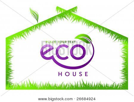 Eco green grass house isolated. Vector illustration