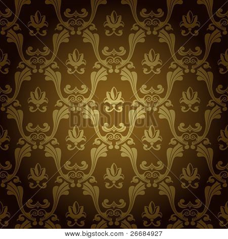 Seamless vintage wallpaper background stamping old gold. Vector copy search in my portfolio