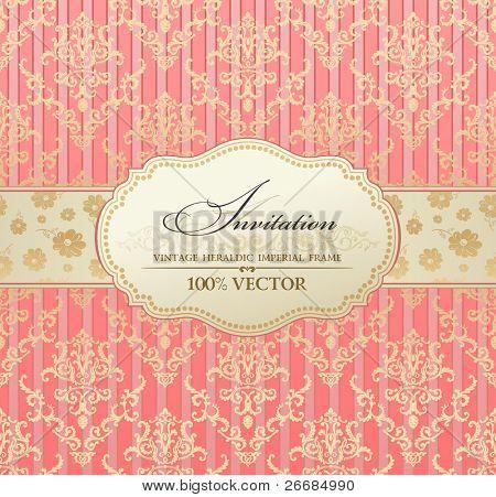 pastel de invitación etiqueta vintage vector marco rosa