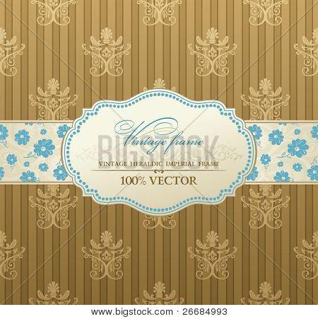 invitation vintage label vector frame pastel
