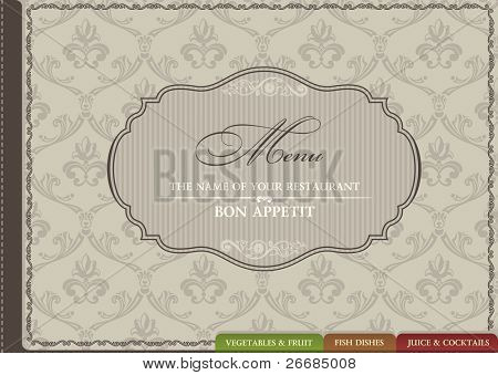 Restaurant menu vector ornament vintage. Vector illustration