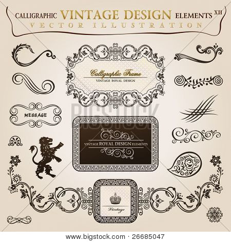 Calligraphic elements vintage heraldic. Vector frame decor illustration
