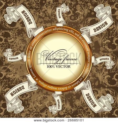 vintage template Background with Label scroll frame