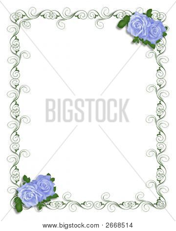 Blue Rose Corners Stationery Or Invitation