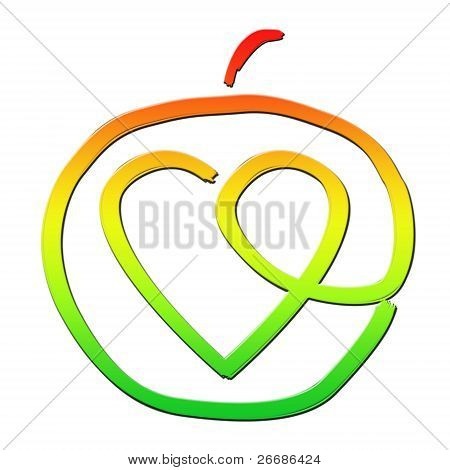 Healthy Apple With A Heart Inside