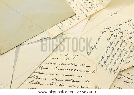 old letters and a grungy envelope