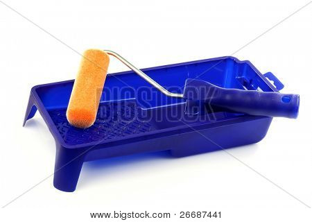 blue plastic paint pan and a paint roller