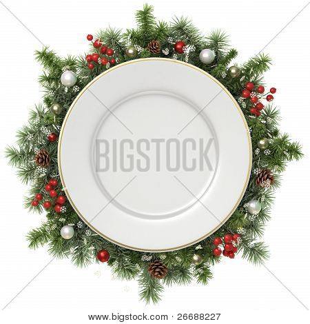 Plate In A Christmas Wreath.