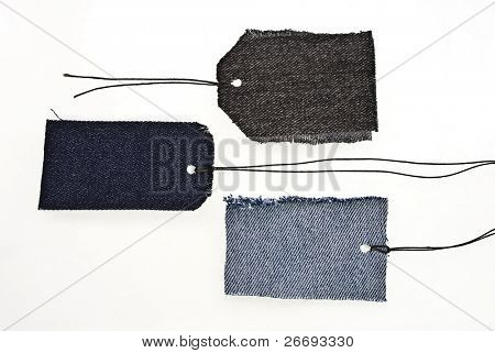 Jeans tags with laces isolated on white