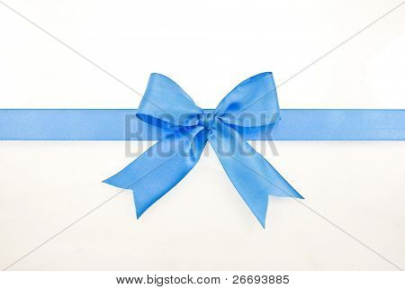 Blue gift satin ribbon bow on white background
