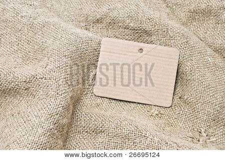 Sackcloth and cardboard tag