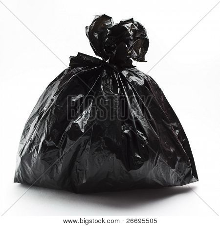 Tied black rubbish bag