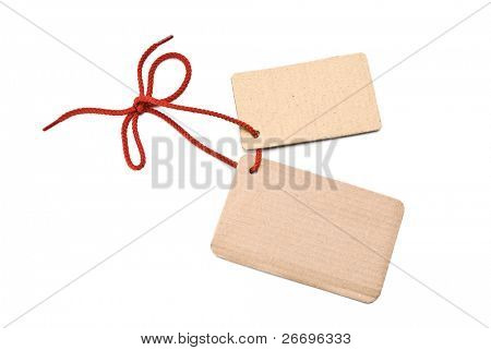 Shoelace with cardboard tags and bow