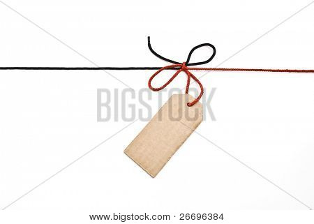 Red and black shoelace,bow with cardboard tag