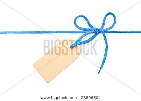 Blue shoelace,bow with cardboard tag