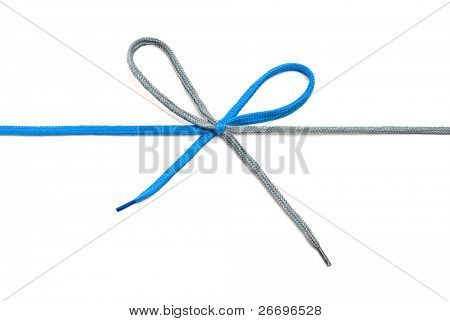 Blue and gray shoelace with bow