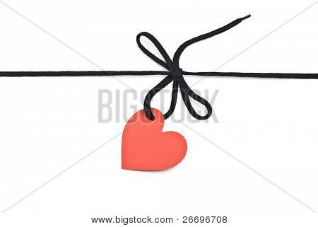 "Black shoelace,bow with red tag ""heart"""
