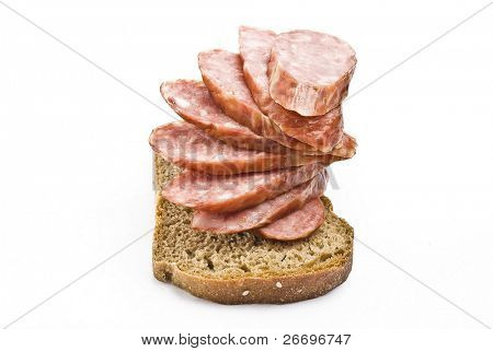 Bread and sliced sausage