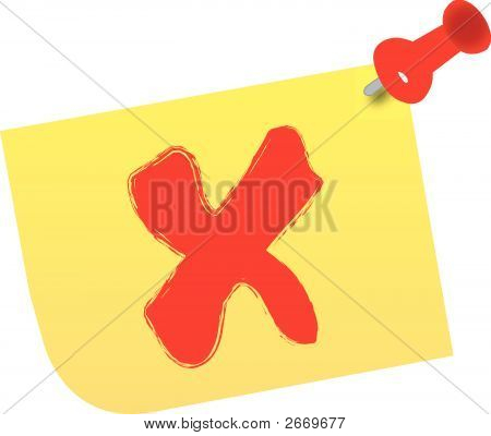 X On Thumb Tacked Note.Eps