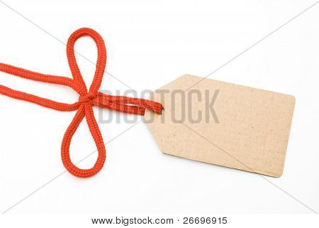 Red shoelace,bow with cardboard tag