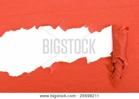 Red torn paper