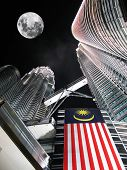 stock photo of petronas twin towers  - Petronas towers by night - JPG