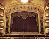 pic of stage theater  - A view of luxurious theater in aged sepia paper background