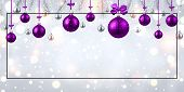 Shiny Christmas And New Year Banner With Purple Christmas Balls. poster