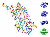 Welcome Collage Of Mosaic Map Of Jiangsu Province And Scratched Seals. Vector Greeting Watermarks Wi poster