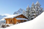 stock photo of chalet  - Alpine scenery - JPG