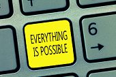 Handwriting Text Writing Everything Is Possible. Concept Meaning Any Outcome Could Occur Anything Ca poster