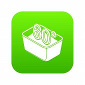 Hand Wash 60 Degrees Celsius Icon Green Isolated On White Background poster