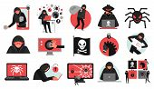 Hacker Activity Set Of Black Red Icons Breaking Of Account Malware And Data Stealing Isolated Vector poster