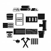 Building Materials Icons Set. Simple Illustration Of 16 Building Materials Icons For Web poster