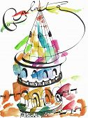 Galata Tower Hand Drawing Watercolor, Galata Tower Sketch Free Hand, Colorful Joyful Galata Tower In poster
