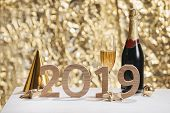 Sparkling New Year Background, Copy Space. Champagne With Decorations On New Years Day poster