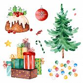 Christmas Collection With Christmas Tree,candy,garland,gifts And Other Decorations.watercolor Holida poster