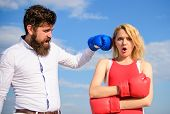Couple In Love Boxing Gloves Sky Background. Man Punch Girl Boxing Glove. She Did Not Expect Be Atta poster
