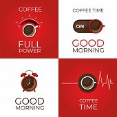 Coffee Concept Set. Coffee And On Off Switch, Heartbeat, Coffee Power, Alarm Clock Poster. Flat Styl poster
