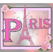 Symbol Of France, Symbol Of Paris - Eiffel Tower. Inscription Paris. Delicate Rose. Travel Collectio poster