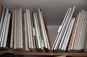 Old Canvases On The Stretcher, Stretchers And Canvases. poster