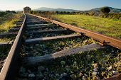 image of train track  - landscape for a old railway abandoned - JPG