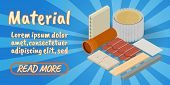 Material Concept Banner. Isometric Banner Of Material Comics Vector Concept For Web, Giftcard And Po poster
