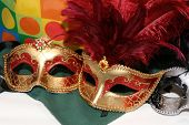 picture of mardi-gras  - colorful masks complete with feathers - JPG