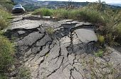 picture of landslide  - the landslide of a rural road on the background an off - JPG