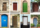 picture of front door  - selection of many types of closed doors entrances - JPG