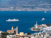 stock photo of messina  - view of the strait and Messina - JPG