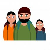 Sad Homeless Family Icon. Cartoon Of Sad Homeless Family Vector Icon For Web Design Isolated On Whit poster