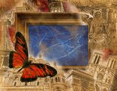 stock photo of moulin rouge  - Grunge background with motives of Paris and France - JPG